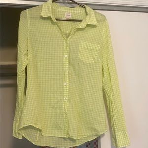 J crew green gingham button down